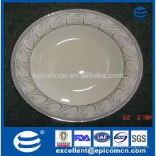 """Placas de cena de porcelana china de hueso de 10.5 """"/ 27cm con estampados de plata en el borde de la placa"""
