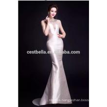 Vestidos de noche de las señoras vestidos de fiesta Mermaid 2015 Deep V vestido de noche sexy blanco largo