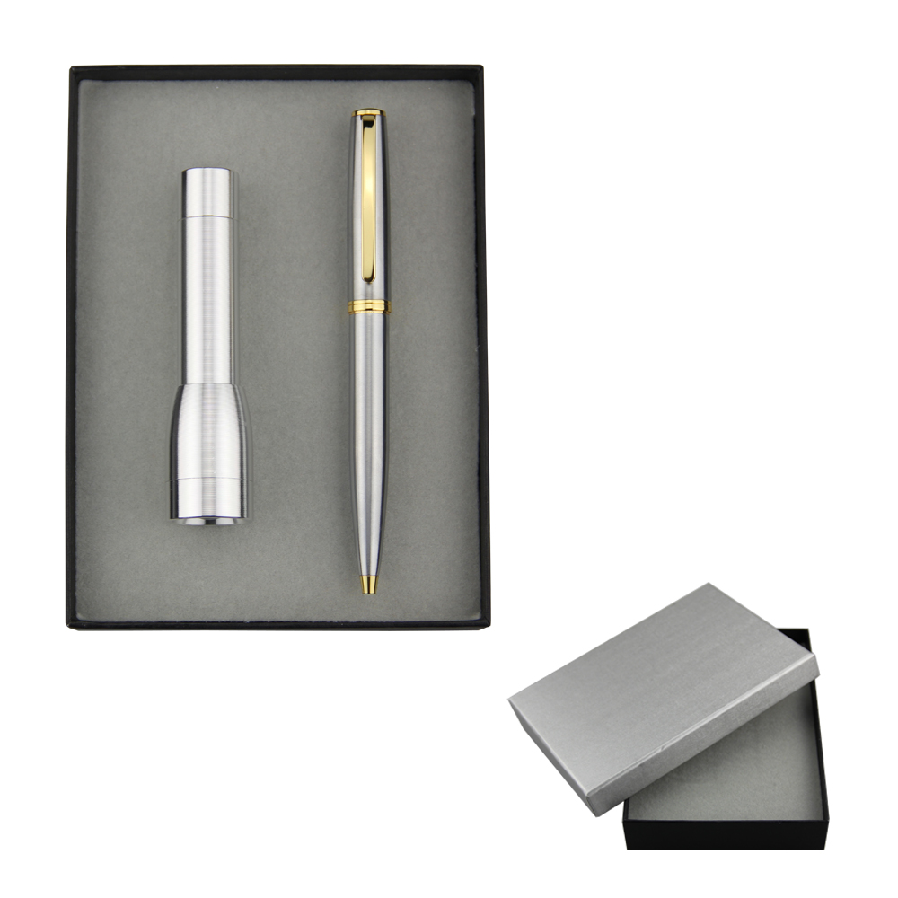 Stainless steel metal ballpen and LED flashlight set