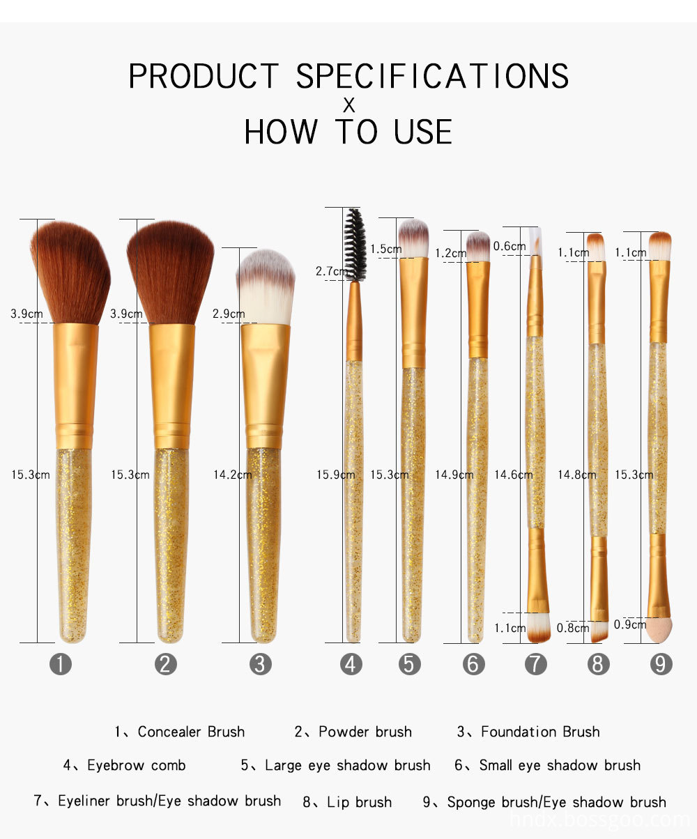 Crystal Handle Makeup Brushes Set