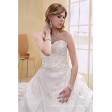 A-Line tafetá pérola em forma de vestido de noiva Strapless Long Trail Vestido AS00702