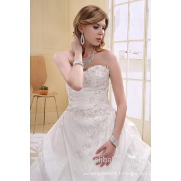 A-ligne de perles en taffette perlée sans bretelles Long Trail Gown Robe de mariée AS00702