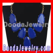 Dark Blue Chunky Resin Teardrop Choker Necklace Wholesale