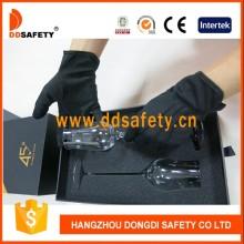 100% schwarze Baumwoll-Polyester-Handschuhe mit 3 Rippen auf der Rückseite Dch214
