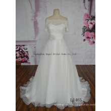 off Shoulder Handmade Flower Tulle A Line Wedding Gown
