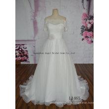 fora da flor Handmade do ombro tule uma linha vestido de casamento
