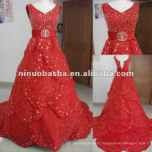 NW-280 Deep V-neck with stunning hand-beaded overlay celebrity red carpet dress
