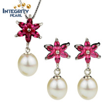 AAA New Design Pearl Set 8-9mm Drop Freshwater Pearl Set Wedding