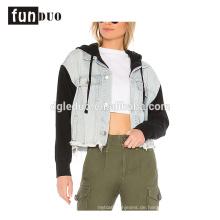 Frauen neue Hoodies Jacke Mode coole lange Hülse Jeansjacke