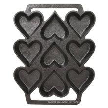 Gusseiserne herzförmige Kuchenform - 9 x 7,5 Zoll