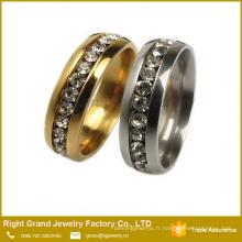 Mode anneau en acier chirurgical diamant 316L dernière conception de bague en or