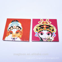2016 custom hot selling Chinese Peking opera makeups style tin plate fridge magnets for souvenir