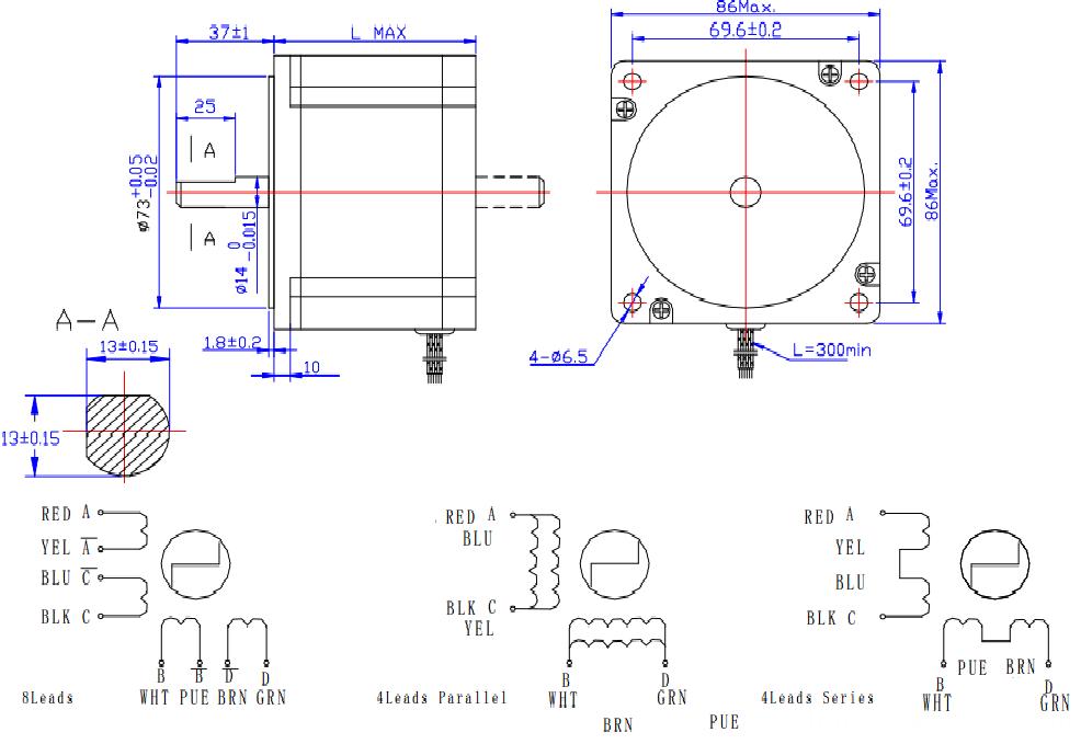 85mm high torque 3-phase hybrid stepper motors anti-rust shaft with 1.2 step angel