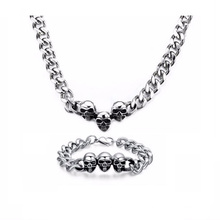 Wholesale Men Silver Chain Store Necklace Bracelet Jewelry Set