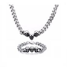 Atacado homens de prata cadeia loja colar pulseira conjunto de jóias