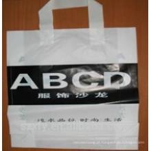 Logo impresso saco de compras de plástico com alça