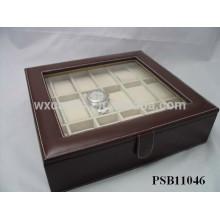 caixa de armazenamento de relógio de couro para 18 relógios por atacado