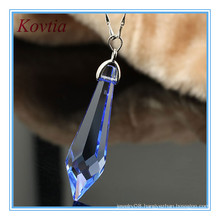 Fashion jewellery long blue crystal point pendant for necklace