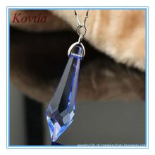 Moda jóias pingente de cristal azul longo ponto para colar