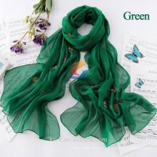 Bufandas de las señoras de la mariposa 2015 bufanda de seda de la gasa del estilo de la manera de Bohemia Bufandas de las mujeres bufandas del poliester