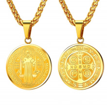 18K Gold and 316L Stainless Steel Saint Benedict Medal Necklace  Christian Sacramental Jewelry Gift for Men Women