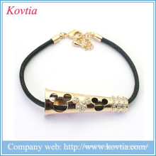 2015 new design mouse figure leather cord metal gold bracelet jewelry crystal stretch bracelets
