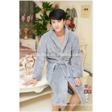 Luxury Soft Gray Honeycomb jacquard Fleece Bathrobe For Online Shopping