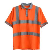Orange gestrickt Polyester CVC High Visibility reflektierende Sicherheit Polo-Shirt (YKY2803)