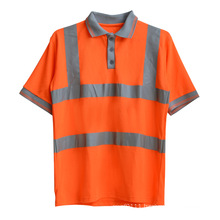 Orange Knitted Polyester CVC High Visibility Reflective Safety Polo Shirt (YKY2803)