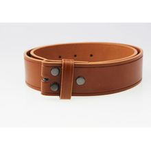 Brown snap on leather belt no buckle
