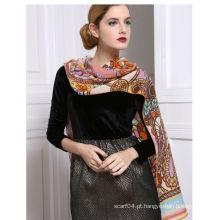 Lã tabela impresso cachecol de mulheres elegantes inverno