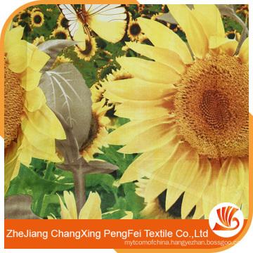 China sunflower pattern soft touching digital printing fabric