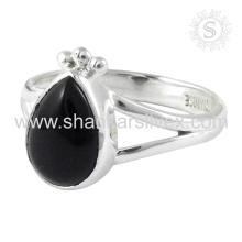 Scenic Black Onyx Gemstone Silver Ring en gros Jaipur 925 Bijoux en argent sterling Bijoux en argent faits à la main en argent