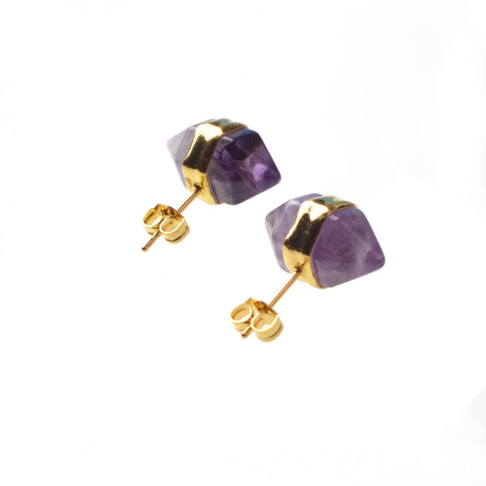 amethyst hexagonal earring