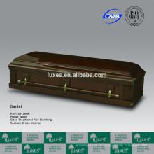 Do caixão de madeira do folheado (S5-36GR) de poplar de estilo americano-forro do caixão