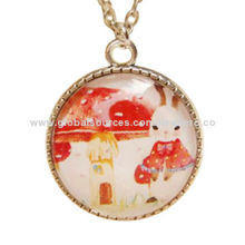 Lovely and Transparent Glass Pendant Necklaces with Rabbit Decoration, Various Designs AvailableNew
