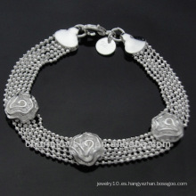 Venta al por mayor Rose 925 pulseras de plata para las mujeres BSS-015