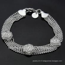 Vente en gros Rose 925 Bracelets en argent pour femme BSS-015
