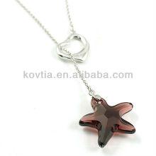 Симпатичный шкентель звезды кристаллический и 925 серебряное ожерелье цепи для девушок