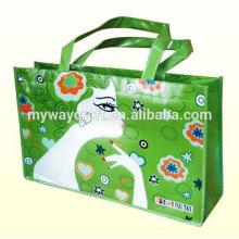 Saco de compras de presente laminado verde / saco não tecido