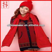 long sleeves women hooded Christmas cardigan in color block