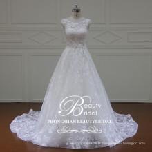 Belle nouvelle conception moderne appliqued a-ligne de mariage robe sans bretelles bling embellissements robe de mariée