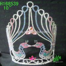 Vente en gros bon marché de la Saint-Valentin Pageant Couronnes Tiara grande couronne de concours