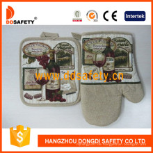 100% Baumwolle Printed Oven Handschuhe Topflappen Sicherheit Küche Handschuhe Dsr210