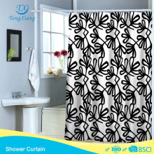 Black leaf white and black style printing Polyester Shower Curtain