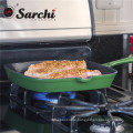 cast iron enamel square grill pan