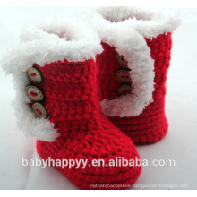 Baby Girl Handmade Crochet Knit Red Newborn Booties Shoes