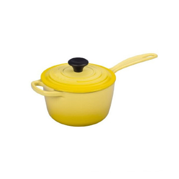 Enameled Cast Iron Covered Saucepan With One Long Handle