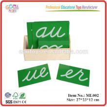 Letras de papel de lija Montessori, Cursive, con caja