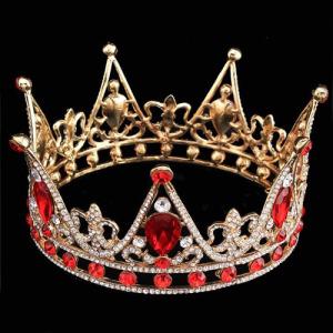 Coroas de rainha redondas completas do concurso lindo com diamantes vermelhos